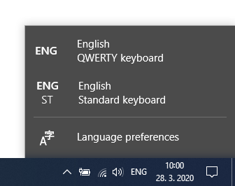 switch keyboard layout from qwertz to qwerty windows 10