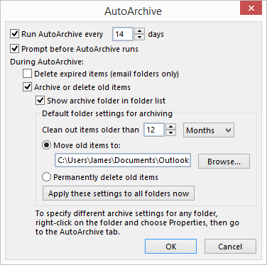 outlook disable moving of old emails from inbox to archive automatically
