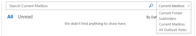 outlook search no results found in folder