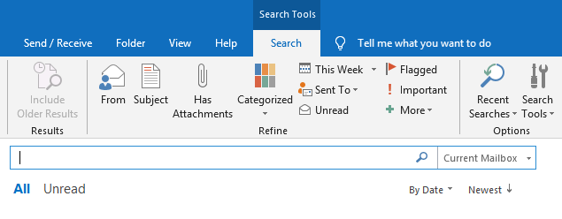 outlook search results emails from sender name email address