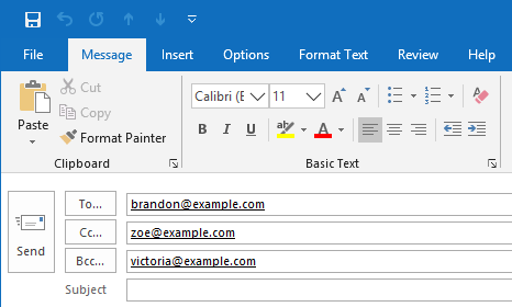 outlook send email to hidden recipients blind carbon copy bcc