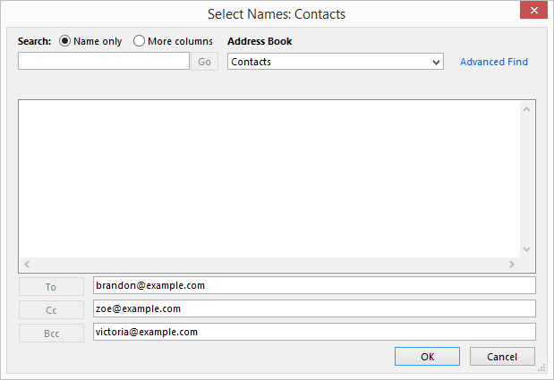 outlook send email search contacts