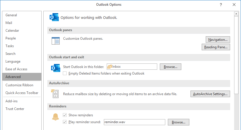outlook settings turn off automatic move old emails from inbox to archive