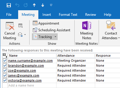 outlook who is invited to meeting attendance responses
