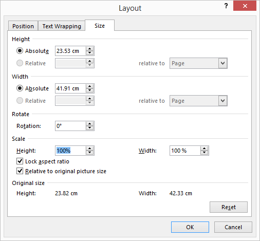 screenshot image in word change size to original
