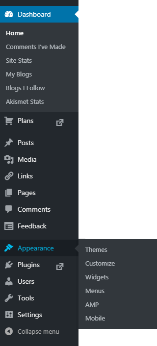 wordpress admin menu appearance editor