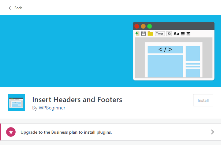 wordpress insert headers and footers unable to install plugins free plan account